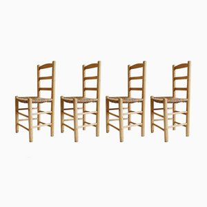Mid-Century Wood & Straw Dining Chairs, Set of 4