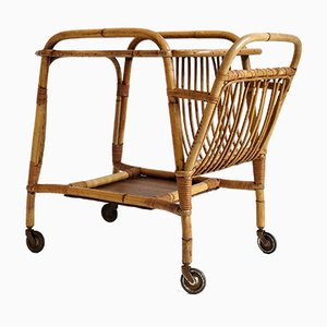 Rattan Serving Trolley, 1950s
