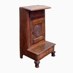 Antique Piemontese Walnut Knee Cabinet with Secret Compartment