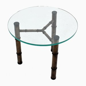 Vintage Glass & Faux Bamboo Metal Coffee Table, 1970s