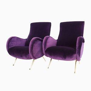 Butacas italianas de terciopelo en violeta, años 50. Juego de 2
