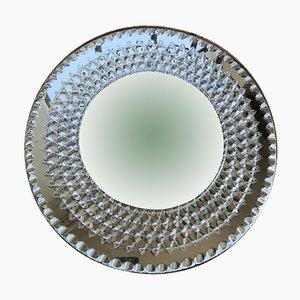 Vintage Round Beveled Chiseled Mirror, 1940s