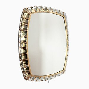 Brass & Crystal Glass Illuminated Wall Mirror from Palwa, 1970s