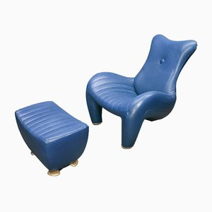 Leather Balou Lounge Chair with Ottoman by Jane Worthington for Leolux, 1990s
