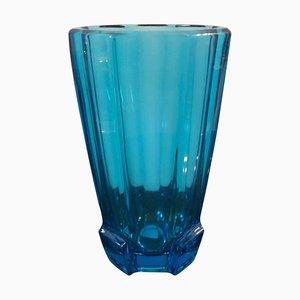 Vase Art Déco en Verre Bleu