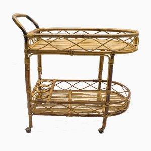 Italian Riviera Bamboo & Rattan Cart from Vittorio Bonacina, 1960s
