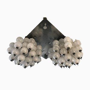Murano Pulegoso Kronleuchter mit Glasanhängern von Mazzega, 1970er, 2er Set