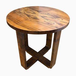 Round Art Deco Italian Walnut Side Table