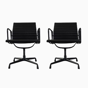 Aluminum & Hopsack EA 108 Chairs by Charles & Ray Eames for Vitra, 1987, Set of 2