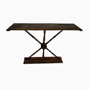 Vintage Spinning Wheel Console Table