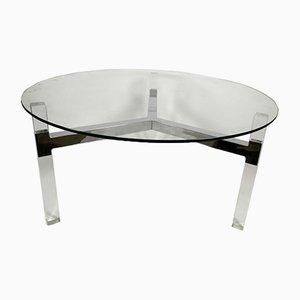 Vintage Steel & Plexiglass Tripod Coffe Table with Glass Top