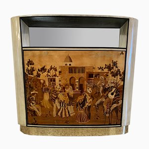 Italian Art Deco Parchment & Inlay Cabinet by Vittorio Dassi for La Permanente Mobili Cantù, 1940s