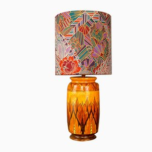 Art Deco Hand-Painted Glazed Ceramic Table Lamp by Chameleon for George Clews & Co
