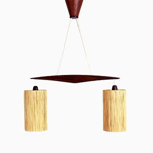 Scandinavian Teak & Raffia Suspension Light, 1960s