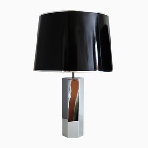 Lampade da tavolo Hollywood Regency in metallo cromato di Ingo Maurer per Design M, anni '70, set di 2