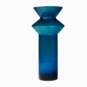 Blue Hyrrä Vase by Helena Tynell for Riihimaen Lasi Oy, 1960s