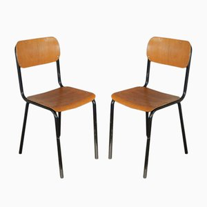 Industrielle italienische Schulstühle, 1970er, 2er Set