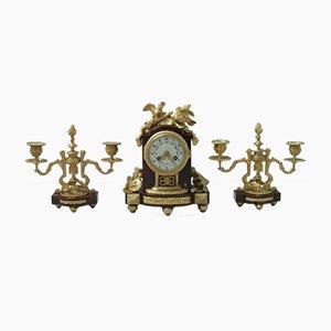 Französisches Uhrenset aus Marmor & vergoldeter Bronze Louis XVI-Stil, 1860er