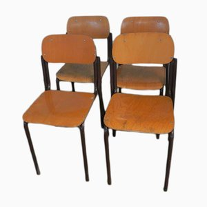 Chaises d'École, Italie, 1970s, Set de 4