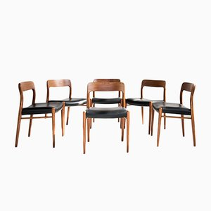 Mid-Century Teak & Leather Model 75 Dining Chairs by by Niels O. Møller for J. L. Møllers, Set of 6