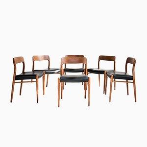 Sedie da pranzo nr. 75 Mid-Century in teak e pelle di Niels O. Møller per JL Møllers, set di 6