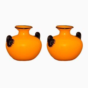 Antike Vasen aus Glas in Gelb & Schwarz von Michael Powolny, 2er Set