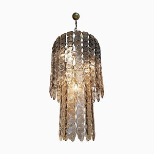 Large Smoked Murano Glass Chandelier from Mazzega, 1970s