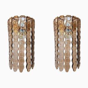 Apliques grandes de cristal de Murano ahumado, años 70. Juego de 2