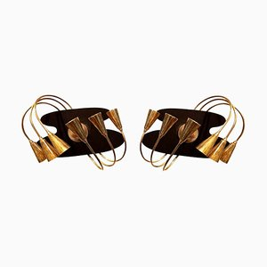 Mid-Century Italian Brass & Black Enameled Wall Sconces from Stilnovo, Set of 2