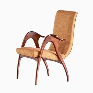 Italian Walnut Sculptural Armchair from Malatesta and Mason, 1950s