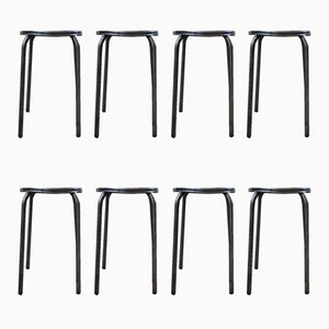 Vintage Industrial Raw Metal Stools, Set of 8