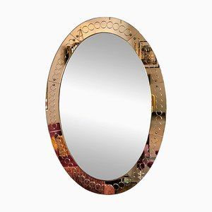 Large Oval Italian Bronze Colored Glass Wall Mirror from Cristal Art, 1960s