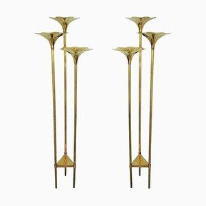 Italienische Mid-Century Stehlampen aus Messing, 1970er, 2er Set