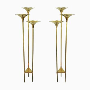 Mid-Century Italian Brass Floor Lamps, 1970s, Set of 2