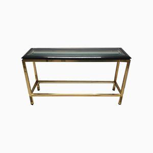 Vintage Brass 2-Tier Console Table with Black Lucite & Glass Top, 1970s