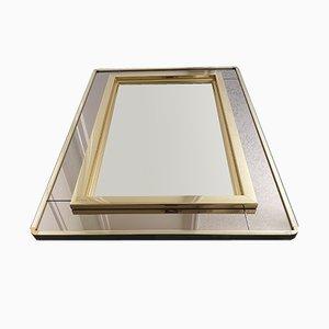 Espejo vintage bañado en oro con espejo de dos tonos de Belgo Chrom, años 80