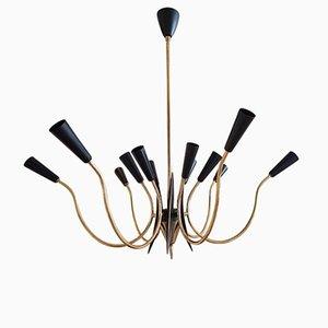 Lustre à 12 Lampes en Laiton et Noir, Italie, 1950s