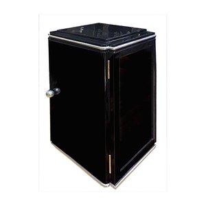 Kleiner schwarzer Art Deco Schrank mit hochglänzenden Elementen aus Weißgold