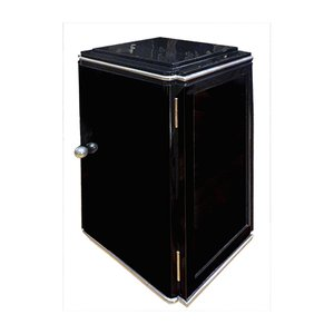 Small Art Deco Black Cabinet with High Gloss Silver Elements