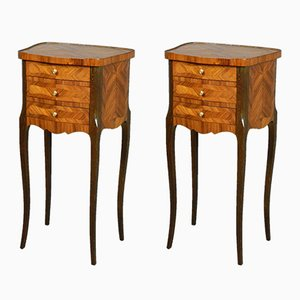 French Kingwood Bedside Cabinets, 1920s, Set of 2