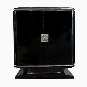 Petit buffet Art Déco en laque noire haute brillance avec éléments argentés