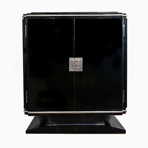 Small Art Deco High-Gloss Black Lacquer Sideboard with Silver Elements