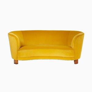 Velvet Curved Sofa by Slagelse Møbelværk, 1940s