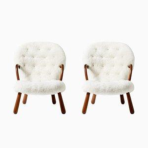 Clam Stühle mit Schafsfellbezug von Philip Arctander für Vik & Blindheim, 1950er, 2er Set
