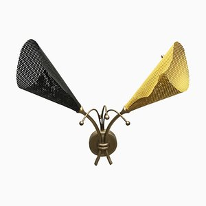 Perforated Iron & Brass Sconce, 1950s