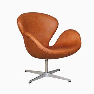 Poltrona Swan vintage in pelle di Arne Jacobsen per Fritz Hansen