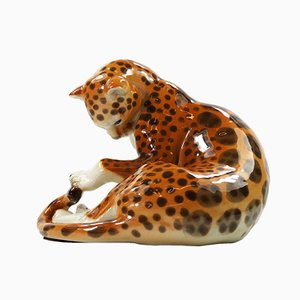 Russian Porcelain Leopard Figurine from Lomonosov, 1970s