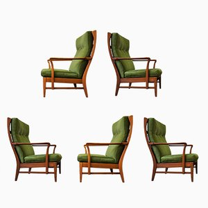 Mid-Century Swedish High Back Armchairs 1960s, Set of 5
