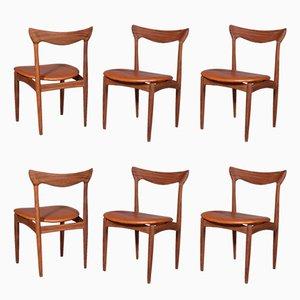 Chaises de Salle à Manger Vintage en Teck et Cuir Aniline Cognac par Henry Walter Klein pour Bramin, 1960s, Set de 6