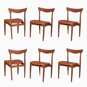 Vintage Teak & Cognac Aniline Leather Dining Chairs by Henry Walter Klein for Bramin, 1960s, Set of 6